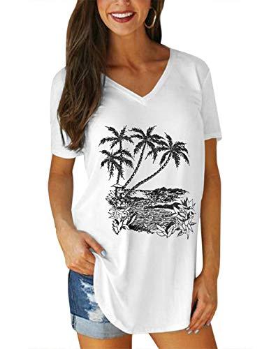 VONDA Magliette Donna Manica Corta T-Shirt Modello Albero Cocco Elegant Case Casuale Larghi Tuniche Tops Oversize Camicetta B-Bianco M