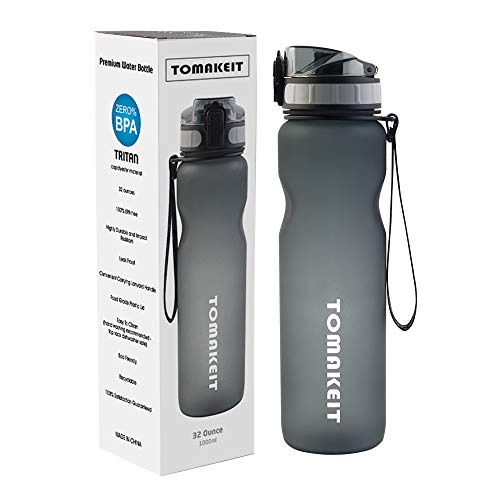 TOMAKEIT Sport Water Bottle 1 Litre 32 Oz, BPA Free Tritan Material, Wide Mouth & Secure Locking Lid for Hiking/Cycling/Running/Outdoor and Office(Grey)
