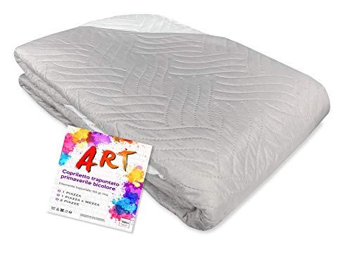 Tex family Couvre-lit matelassé Art couleur unie bicolore – 1 place, gris