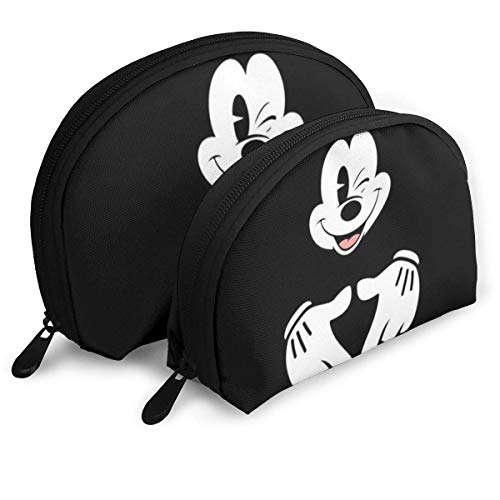Love Mick-EY Mouse Makeup Bag Travel Bags Small Shell Bag Portable Toiletry Clutch Pouch 2Pcs