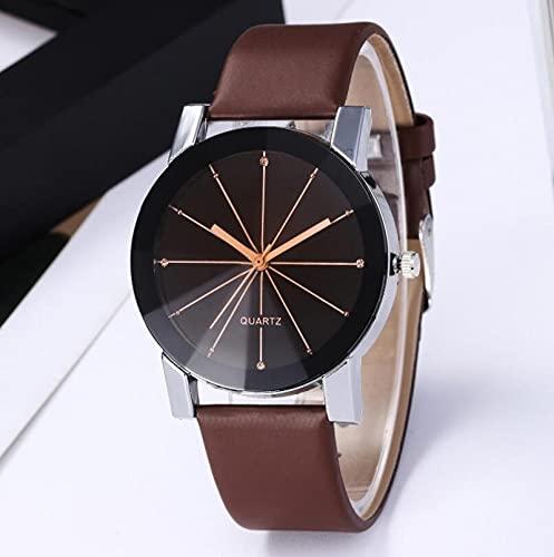 Relojes Cinturón Par Mesa Moda Estudiante Reloj Business Quartz Brown