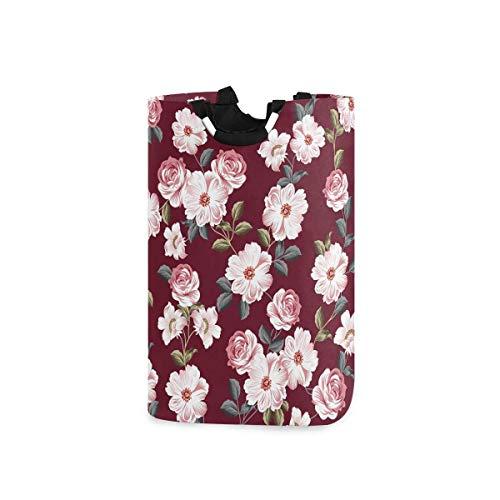 N\A Cesta de lavandería de Flores Vintage con Asas, cesto de Ropa, Cesta de Juguete, Almacenamiento de Ropa, cesto de Toallas