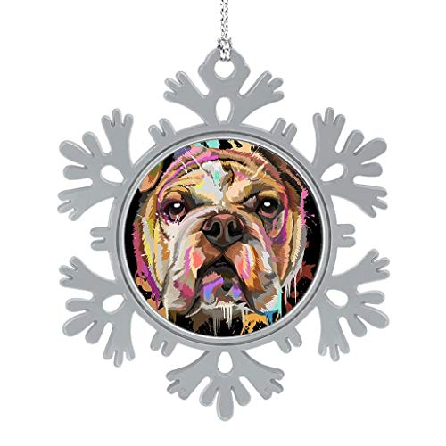 "ATag-Leggings English Bulldog Splash Alloy Christmas Snowflake Ornaments Hanging Christmas Decoration 2"" White 8pcs"
