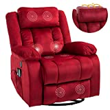 Mecor Massage Recliner Chair w/Adjustable Headrest Flannelette Rocker Recliner w/Heat 360 Degree Swivel Single Sofa Seat Ergonomic Lounge with USB/Side Pockets/Remote Control for Living Room(Red)