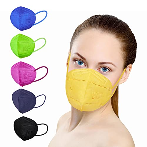 ctc connexions 20 Stück FFP2 Maske , CE0598 Zertifiziert 5-Lagen Staubschutz Masken, Einzeln Verpackt Im PE-Beutel Für Mund- Und Nasenschutz Einweg-Atemschutzmaske (Bunt)