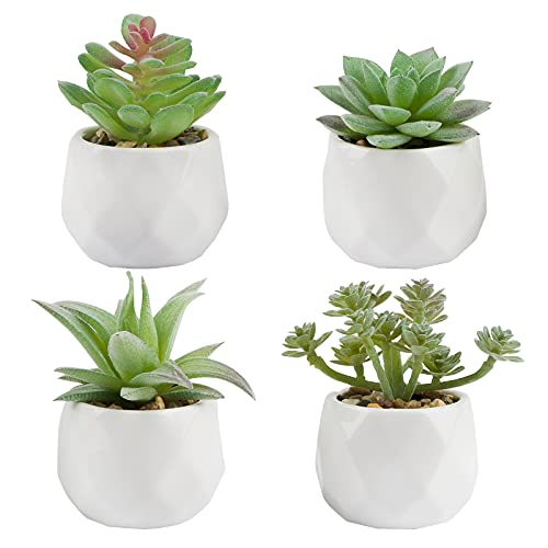 VINFUTUR 4pcs Suculentas Artificiales Plantas Pequeñas con Maceta Cerámica Plantas Decorativas...