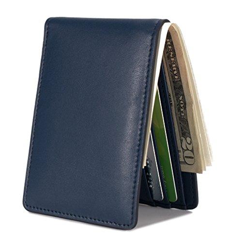 Mens Slim Front Pocket Wallet ID Window Card Case with RFID Blocking - Dark Blue