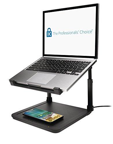 Kensington K52784WW - Soporte Elevador para Portátiles Smartfit con Panel de Carga Inalámbrica para Teléfonos, con Cargador de Teléfono Inalámbrico Qi, Diseño Antideslizante, Negro