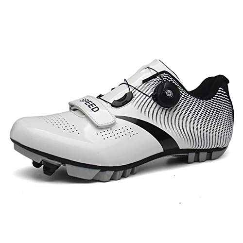 Mens Womens Cycling Shoes Mountain Bike Shoes Road Bike Shoes MTB Spin Cycling Shoes with Quick Lace Compatible SPD Cleats Self-Locking Cycle Shoes