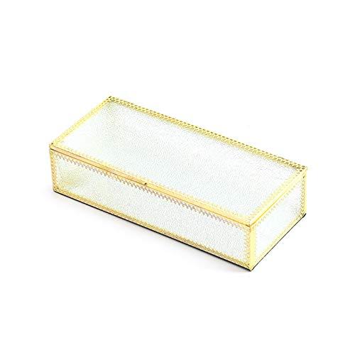 VVXXMO - Braccialetto in vetro dorato con coperchio e bordo in stile vintage, per gioielli decorativi