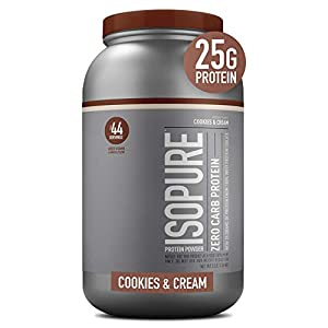 Isopure Zero Carb, Vitamin C and Zinc for Immune Support, 25g of Protein, Keto Friendly Protein Powder, 100% Whey Protein isolate, Flavor: Glanbia Performance Nutrition cookies & cream, 3 Pounds (Packaging Can Vary).