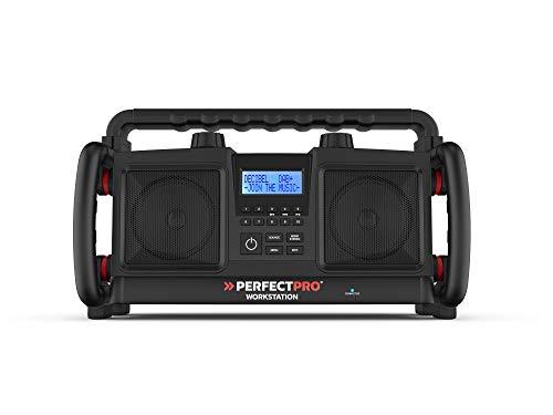 PerfectPro Baustellenradio Workstation, DAB+, Bluetooth und UKW-Empfang, Radio mit AUX und USB-Eingang, Netzstrom, Wiederaufladbar, Stoßfest, IP65