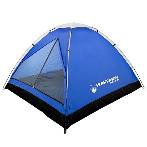 2-Person Tent, Water Resistant Dome Tent for Camping with Removable Rain Fly and Carry Bag, Lost River 2 Person Tent by Wakeman Outdoors (Gray/Blue) (75-CMP1022)