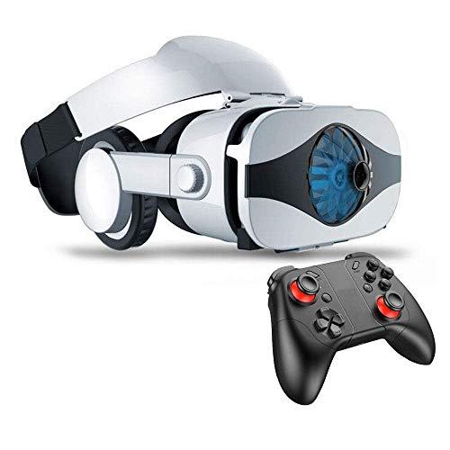 NILINLEI VR portátil Auricular Gafas de Realidad Virtual Eye Protegida HD Headset w/Ventilador Controlador, botón del Tacto, Películas 3D Juegos de Video en iOS y Android Smartphone