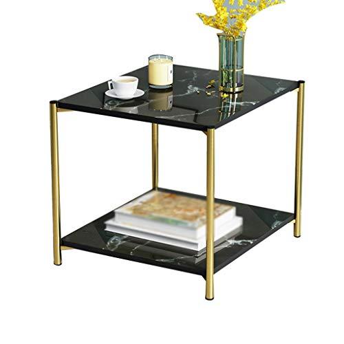 CSQ Multifunctionele kleine ronde tafel, dubbellaags gouden stalen frame, salontafel, kantoor, vergaderruimte, receptent