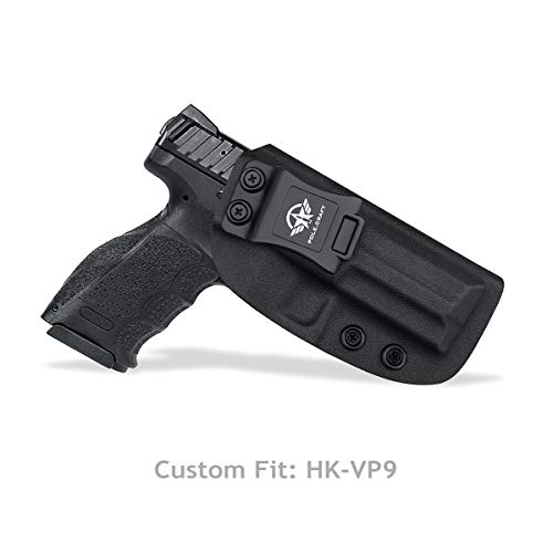 HK VP9 Holster IWB Kydex Pistolenholster for Heckler & Koch (H&K) VP9 VP40 Concealed Carry - Pistolenhalfter Hängend Carrier Verdeckte/Versteckte Pistole Case Waffenholster (Black, Right Hand Draw)