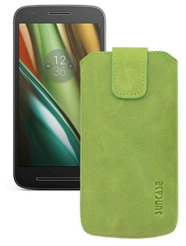 Original Suncase Etui Tasche für Lenovo Moto E3   mit ZUSÄTZLICHER Hülle / Schale / Bumper *Lasche mit Rückzugfunktion* Handytasche Ledertasche Schutzhülle Hülle Hülle in antik-kiwi grün