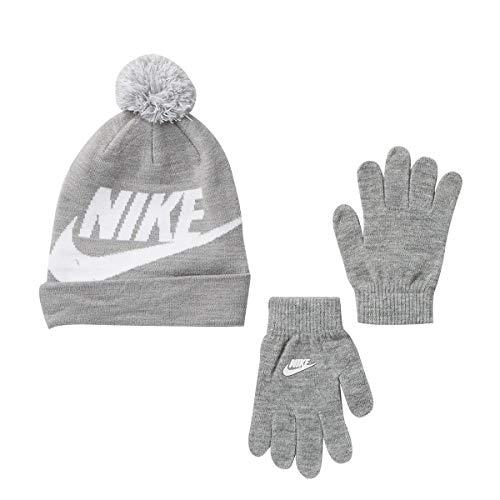 NIKE Boys Big Kids Swoosh Beanie Hat Gloves Set, Dark Gray Heather , 8-20 Big Kids