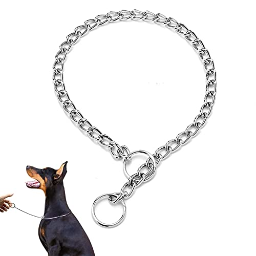 Hundehalsband, Metall Hundetraining Choke P Kettenhalsbänder Pet Training Walking Choker für kleine mittelgroße Hunde (L(3.0mm*55cm))