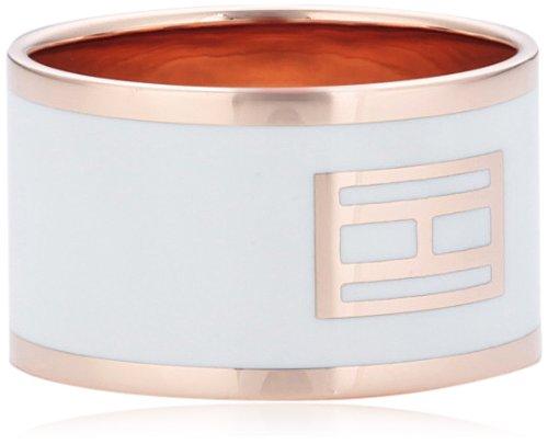 Tommy Hilfiger jewelry Damen-Ring Edelstahl IP roségold beschichtet Emaille weiß Gr. 54 (17.2) 2700395C