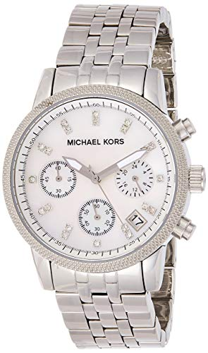 Hot Sale Women's Stainless Steel Case and Bracelet Quartz Chronograph Mother of Pearl Dial