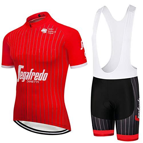 Sommer Radtrikot - Quick-Dry Breath Short Sleeve Bike Uniform Mit 3D-Gel Pad Trägerhose Für Pro Fahrrad-Kleidung Set,Rot,S