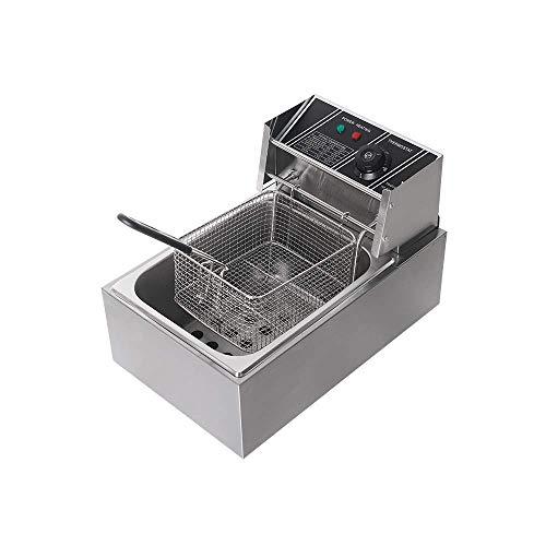 PLEASUR Procesador de Alimentos Freidora eléctrica de 8L / 18L Freidora de Acero Inoxidable Freidora de Uso Comercial o doméstico con Cesta (16L)