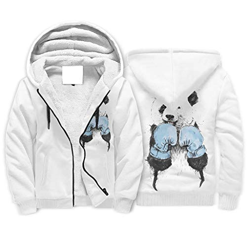 O5KFD&8 Unisex Reißverschluss Vlies Sweatshirts Männer/Frauen Panda Boxer Logo Lustig - Boxing Kapuzenpullover aus Baumwolle Komfortabel Uniform white2 2XL