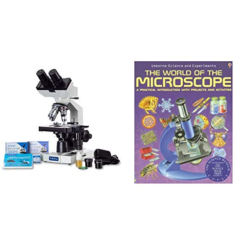 OMAX 40X-2000X LED Binocular Compound Lab Microscope w/Double Layer Mechanical Stage + Blank Slides & AmScope The World of The Microscope A Practical Introduction with Projects and Activities