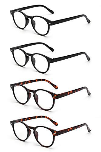 JM 4 Pack Federscharnier Lesebrille Vintage Runden Brillen für Leser Damen Herren +2.0 Schwarz & Schildkröte