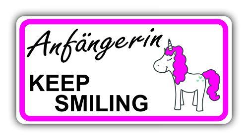 Sachverständigen-Zubehör.de Auto-Magnet-Schild Anfängerin! Bitte um Nachsicht 20 x 10 cm Vorsicht Achtung Fahranfänger-in mit Einhorn wetterfest magnetisch Pink Mädchen Frauen lächeln fröhlich