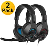 SENICC 2 Pack Gaming Headset with Microphone for PS4 Xbox One, Over Ear 3.5mm PC...