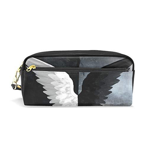 Lápiz Bolsa Bolso Estuche Bolsa Mosca Blanco Negro Alas de ángel Maquillaje cosmético para niñas Niños Escuela de viajes