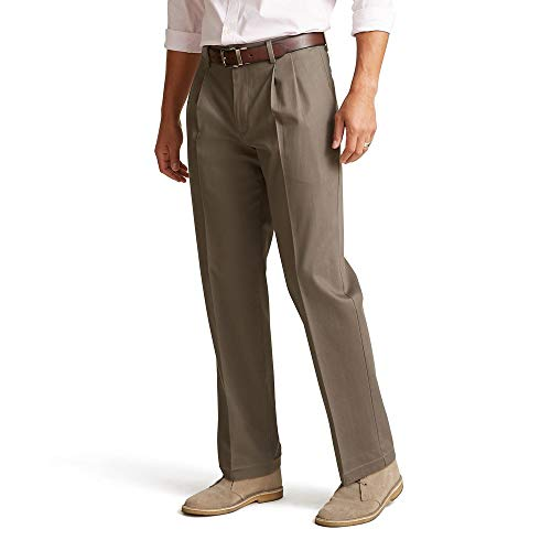 Dockers Men's Classic Fit Signature Khaki Lux Cotton Stretch Pants-Pleated, Dark Pebble, 40W x 32L