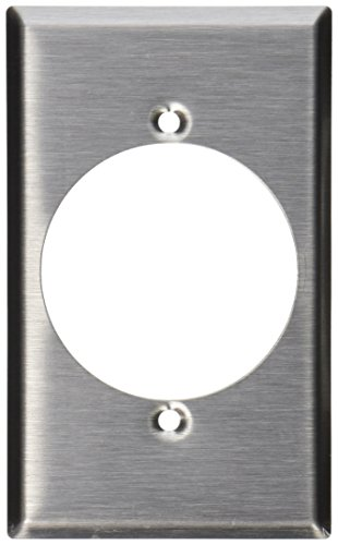 Leviton 84028 1-Gang Flush Mount 2.15-Inch Diameter, Device Receptacle Wallplate, Device Mount, Stainless Steel