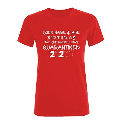Amo Distro Social Distancing T Shirt Personalizzato Nome Compleanno Quarantina Classe 2020 Maglietta Stampata per Donna Rosso XS
