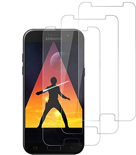 Wiestoung Protector de Pantalla para Samsung Galaxy A5 2017, [3 Pack] Cristal Templado [9H Dureza ] [Sin Burbujas] [2.5D Borde Redondo] HD Film Vidrio Templado para Galaxy A5 2017
