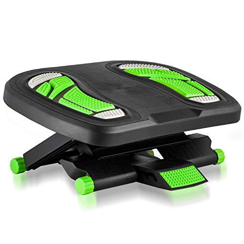 Footrest for Under Desk, Foot Stool for Desk at Work, Three Adjustable Height Positions, Black and Neon Green by Halter