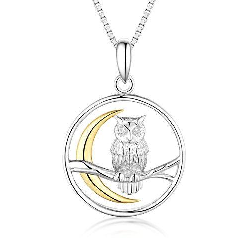 Bellrela 925 Sterling Silver Owl on The Branch Cresent Moon Pendant Necklace,18+2''rolo Chain