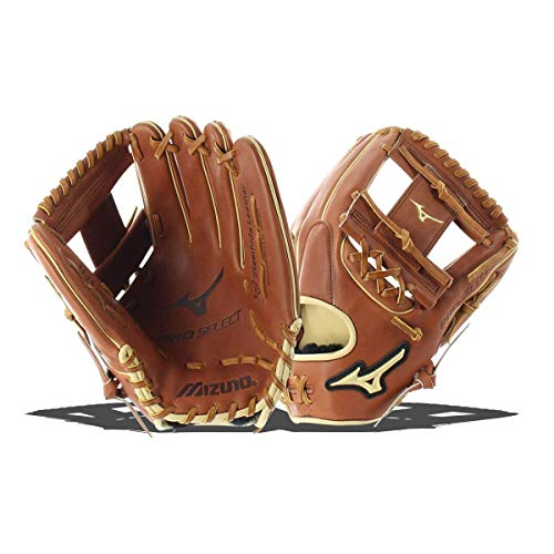 Mizuno Pro Select Baseballhandschuh Serie, Pro Select GPS1-100R Infield/Outfield/Pitcher Model Gloves, Brown, Brown Tartan Web, 12