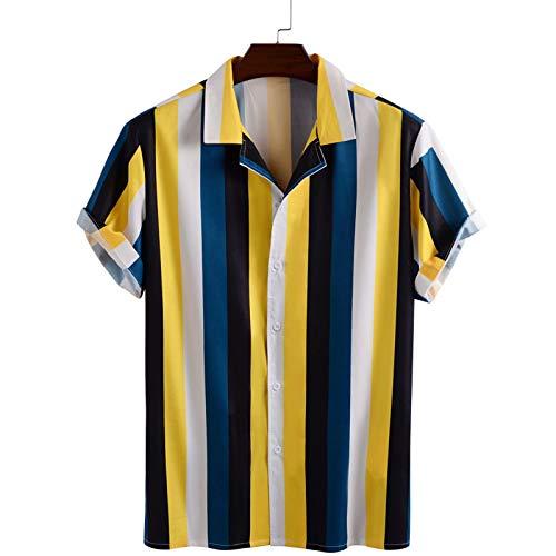 Camisa a Rayas para Hombre con Bloqueo de Color, Verano, Delgada, de Manga Corta, Solapa, de un Solo Pecho, Informal, Diario, con Ajuste Regular M