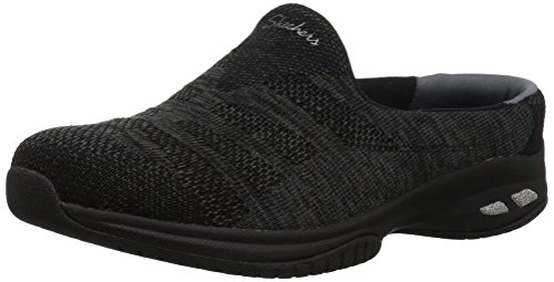 Skechers Women's Commute-KNITASTIC-Engineered Knit Open Back Mule, Black, 9.5 M US