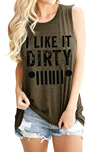 EGELEXY I Like It Dirty Tank Top Shirts Women Funny Saying Camis Casual Letter Print Sleeveless Graphic Vest Tee Size M (Gray)