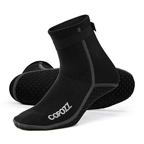 COPOZZ 3mm Tauchsocken Neoprensocken für Erwachsene Damen Herren, Dicke Tauchsocken Wassersport Schwimmen Socken für Schwimmen, Schnorcheln, Segeln, Surfen Wassersport, schwarz, XL
