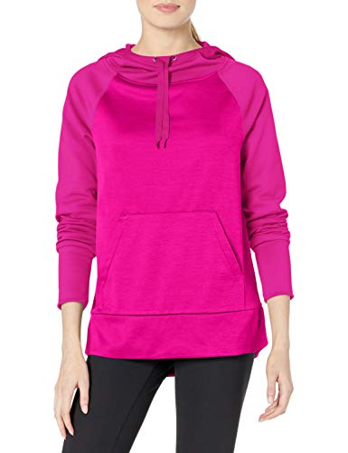 Hanes Women's Sport Performance Fleece Pullover Hoodie, Fresh Berry Solid/Fresh Berry Heather, L