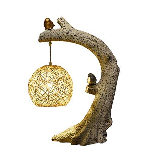 lampara de lectura Nuevo chino retro lámpara de mesa de la personalidad creativa adornos decorativos Ronda del pájaro con el botón del interruptor de lámpara de escritorio Sala de estar por Lámpara de