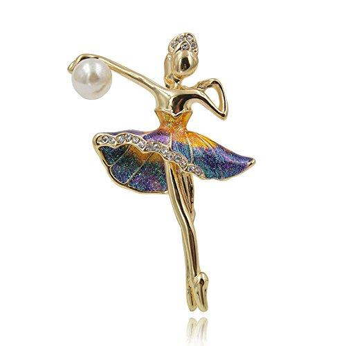 TOOGOO Broches de Nina de Gimnasia para Mujer Joya Pin de Baile de Ballet Esmalte Lindo Ramillete Joya de Moda