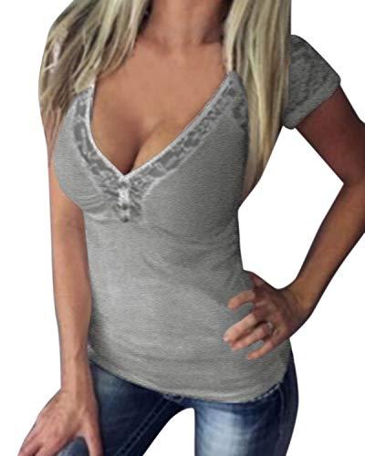ACHIOOWA Camiseta de Mujer Cuello V Tops Sexy Elegante Blusa de Manga Corta T-Shirt Tramo Casual Gris XL