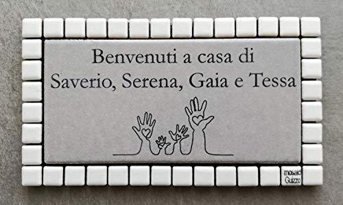 Mosaici Guizzo Targhetta in Ceramica incisa+Cornice_Tema Famiglia