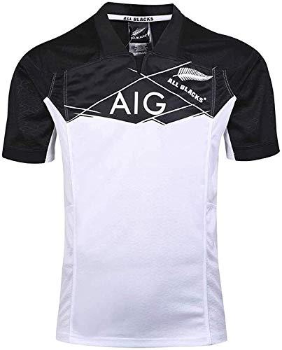 Jersey de Rugby 2017 Copa del Mundo de Nueva Zelanda All Blacks Fútbol Camisa de Polo, Todos los Negros Entrenamiento del fútbol Camiseta, Jerseys de Competencia (Color : White, Size : XX-Large)